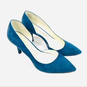 Anne Klein faux suede heels pointed toe d'orsay